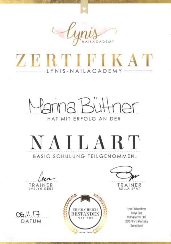 Zertifikat Nailart